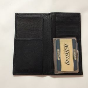 Optimum Black Genuine Leather Checkbook Wallet